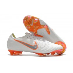 Nike Mercurial Vapor 12 Elite FG Barn Fotbollsskor - Vit Orange Grå