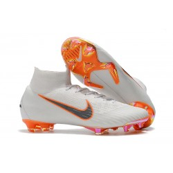 Nike Mercurial Superfly VI 360 Elite FG Fotbollsskor Barn - Vit Orange Grå