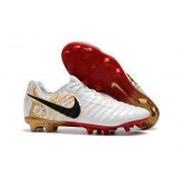Nike Tiempo Legend 7 Elite FG Fotbollsskor för Herrar - Vit Guld Svart