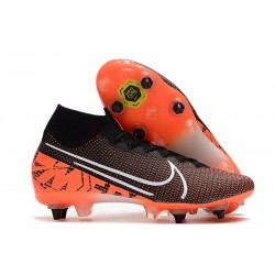 Nike Mercurial Superfly VII Elite SG-PRO Anti Clog Svart Orange Vit