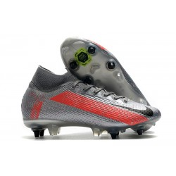 Nike Mercurial Superfly 7 Elite SG DF Neighbourhood - Silver Svart Grå